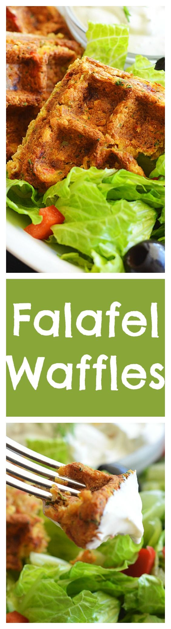 Falafel Waffles with Creamy Dill Sauce