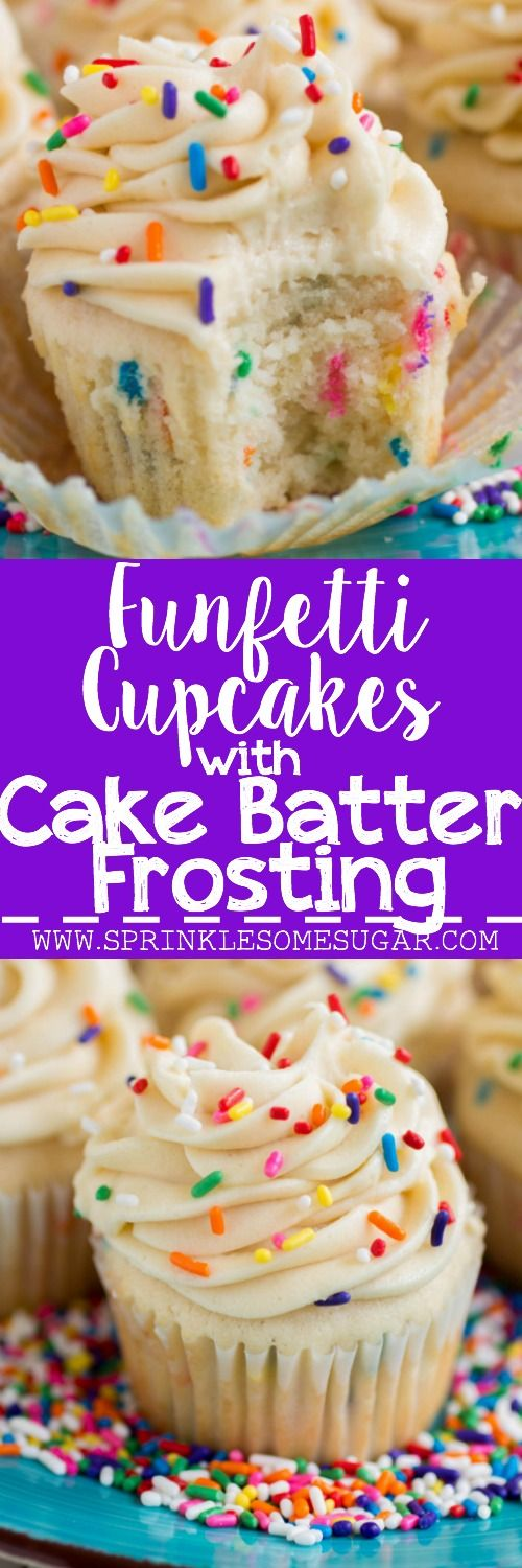 My favorite basic fluffy vanilla cupcakes chock full of sprinkles and topped with a creamy cake batter frosting!