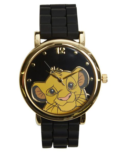 "Featuring almost too much cute, this watch style has an adorable picture of Simba from Disney's film ""The Lion King"" on the face with gold time markers, a rounded gold metal bezel and a textured rubber wrist band with gold metal details, including its adjustable buckle closure.       Face: 1.5"" diameter     Rubber / Metal     Imported"