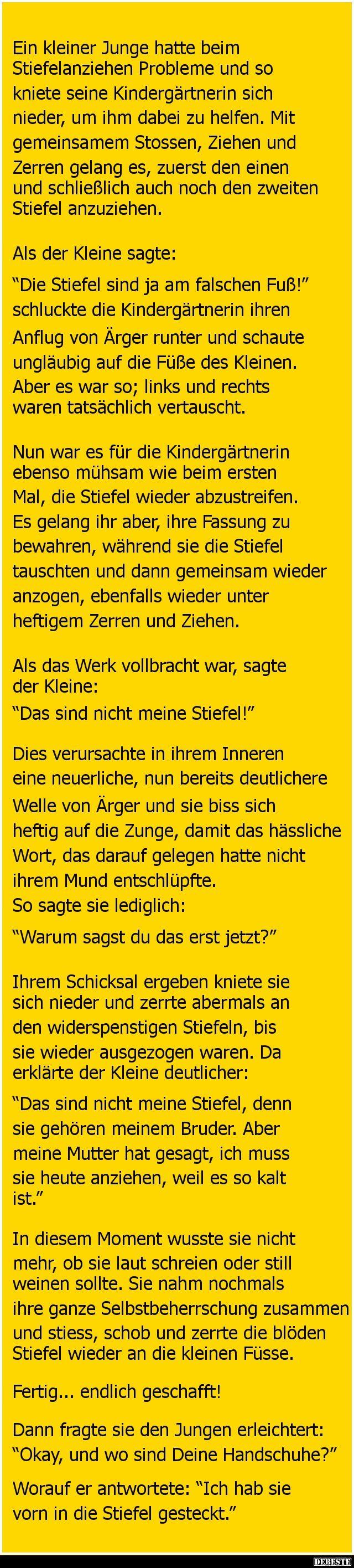 Ein kleiner Junge hatte beim Stiefelanziehen Probleme | DEBESTE.de, Lustige Bilder, Sprüche, Witze und Videos