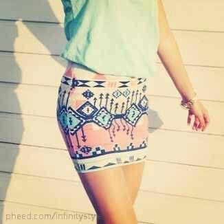 Tribal skirt. Skin Tight Stretch. Teen Fashion. By-Lily Renee♥ follow (Iheartfashion14).