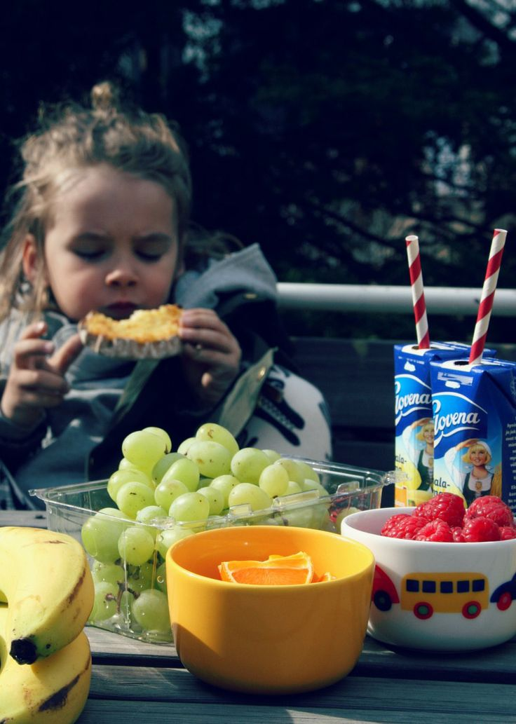 Elovena picnic, raspberries, grapes, oranges, bananas and Elovena drinks.