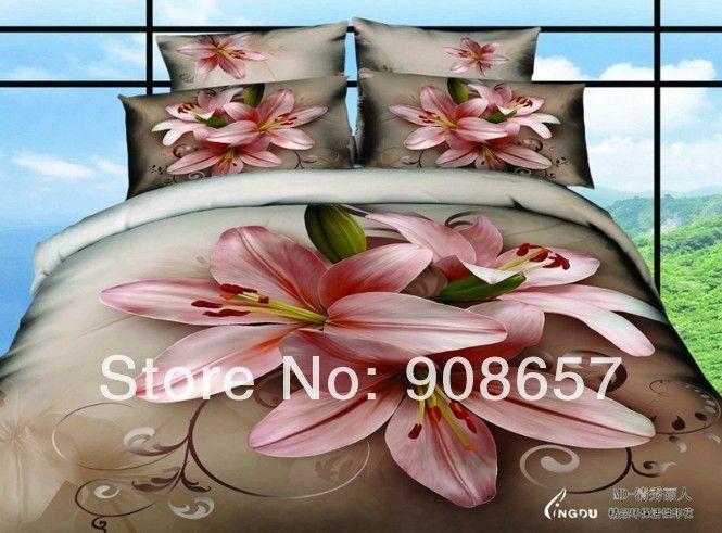 Весна постельные принадлежности розовый лилия коричневый цвет утешитель хлопок queen полный девочки кровать лён одеяло комплект пододеяльников для пуховых одеял 4 - 5 пк постельное белье