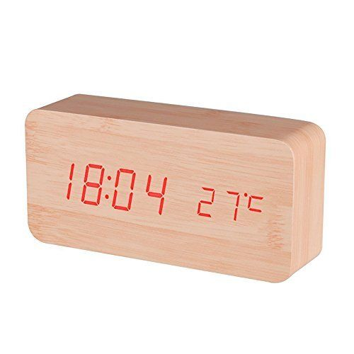 NAMEO LED Digital Electronic Alarm Wood Clock, Displays Time and Temperature, Voice Control, Powered by Batteries/USB (Bamboo Wood & Red LED)  #Alarm #Bamboo #Batteries/USB #Clock #Control #Digital #Displays #Electronic #NAMEO #Powered #RusticMantelClock #Temperature #Time #Voice #Wood The Rustic Clock