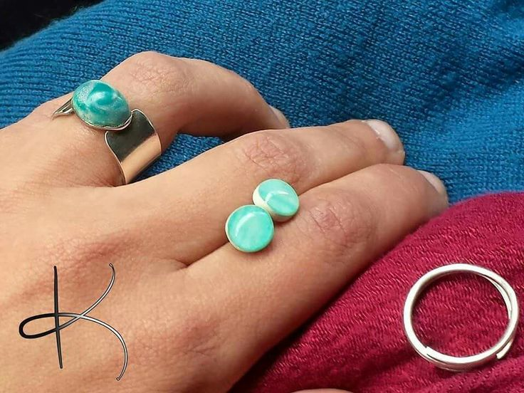 #sterling #silver #ring #earrings #fimo #polymerclay #resin
