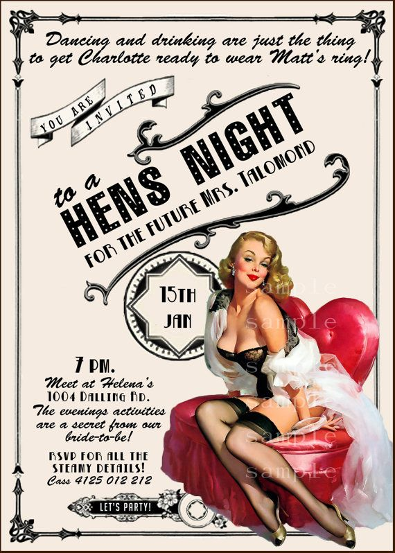 Vintage Pin Up Girl Invitation- Bachelorette party, Hens night, Lingerie Shower burlesque invite diy print file PRINTED OPTIONAL on Etsy, $15.99