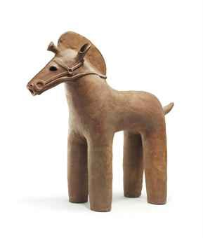 A Haniwa Model of a Horse Kofun Period (6th-7th century) Of low-fired reddish clay 82.5cm. high