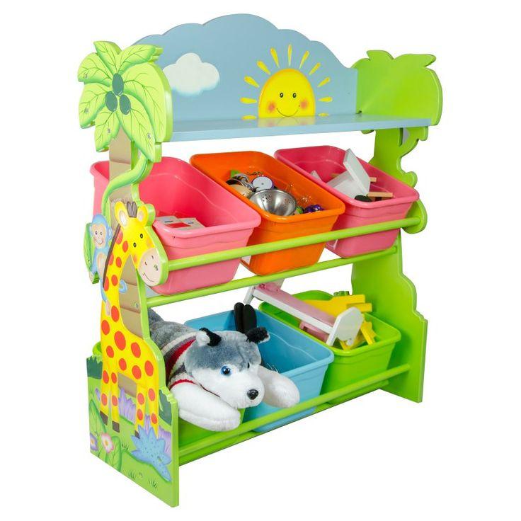 Fantasy Fields Sunny Safari Animals Kids Toy Organizer With Storage Bins Kids Toy Organization Kid Toy Storage