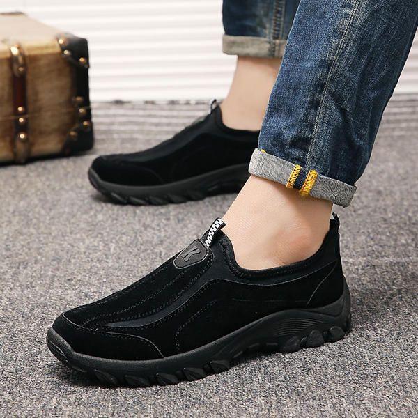 Men Suede Leather Elastic Slip On Outdoor Hiking Sneakers - US$35.12