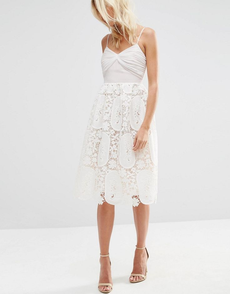 Image 4 of ASOS Prom Dress With Pleat Bust And Lace Skirt