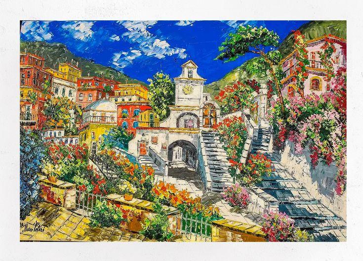 Pittura della Costiera Amalfitana Atrani decorazione ...