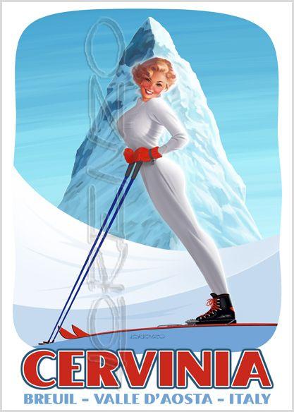 Cervino | Vintage Italian Skiing Poster