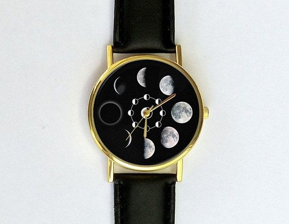Moon Phases Watch Unisex Watch Ladies Watch by 10northcreative