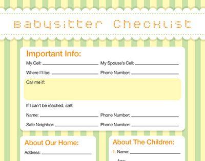 Babysitter Checklist - iMom