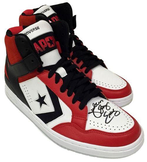 Julius Dr. J Erving Signed Pair of Converse Weapon Basketball Shoes JSA