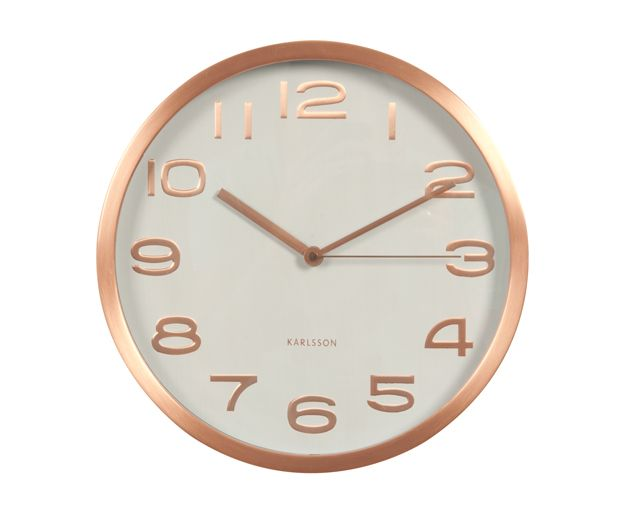 Wall clock Maxie copper numbers white D. 29cm, H. 4cm, Excl. 1 AA battery. #karlssonclocks #presenttime