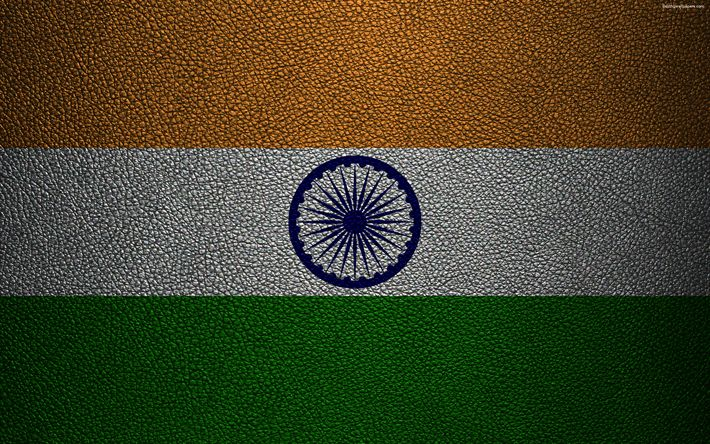 Download wallpapers Flag of India, 4k, leather texture, Indian flag, Asia, world flags, India