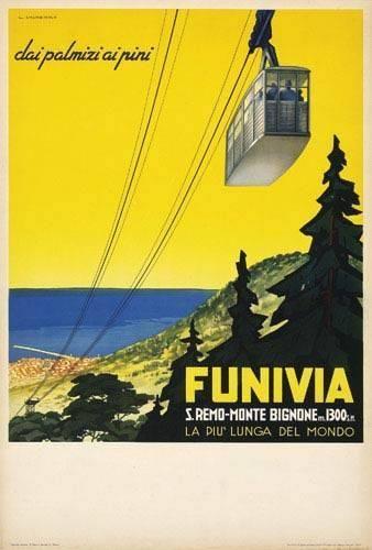 Sanremo cable car advertising, 1937. Liguria #riviera #essenzadiriviera