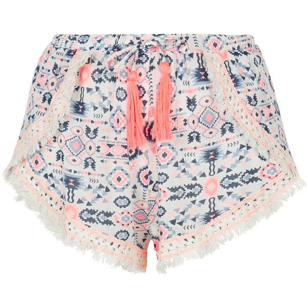 New Look Multicoloured Aztec Print Crochet Trim Shorts ($19) ❤ liked on Polyvore featuring shorts, multicolour, multi colored shorts, colorful shorts and tassel shorts