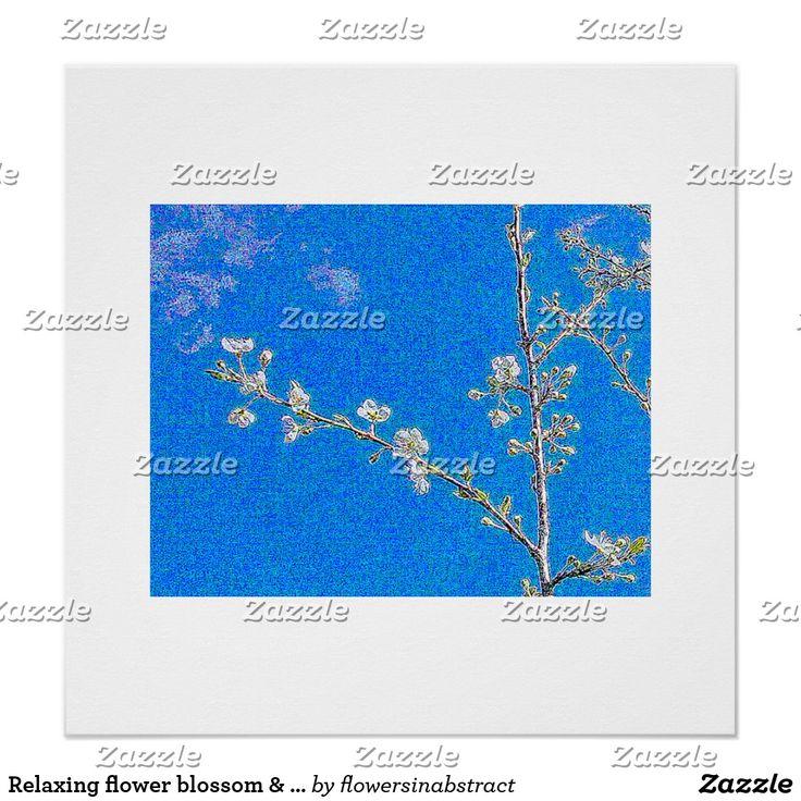 Relaxing flower blossom & blue sky poster print .