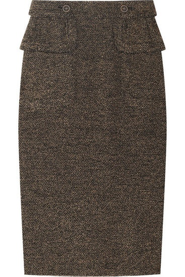 20 Ways to Channel Carey Mulligans Sweet Schoolgirl Style in An Education: We're obsessed with the cut of this wool pencil skirt; it's got a sexy silhouette and gorgeous texture, not to mention the flirty peplum waist detailing. Burberry Prorsum Textured Wool-Blend Skirt ($995)