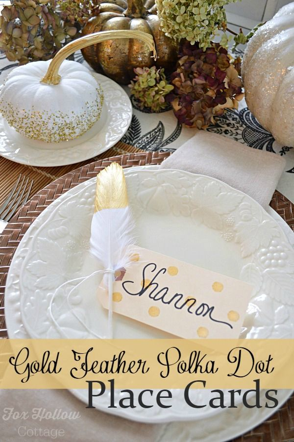mizuno running apparel Make a gold feather polka dot place card for the Thanksgiving dinner table  Find this DIY home decor idea and more at foxhollowcottage com