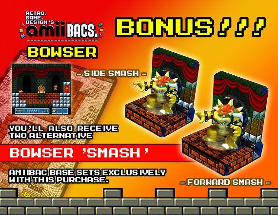 Super Mario Bowser AmiiBac w/ BONUS Smash Bases
