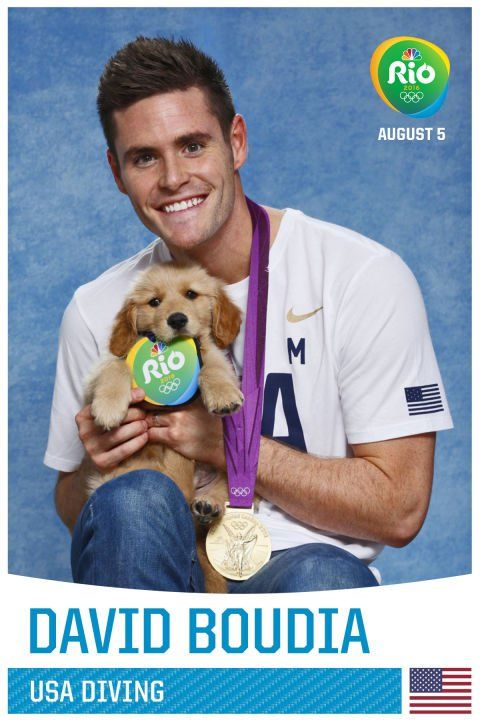 Pin for Later: A Whole Bunch of Olympians Holding Puppies, Because Obviously David Boudia