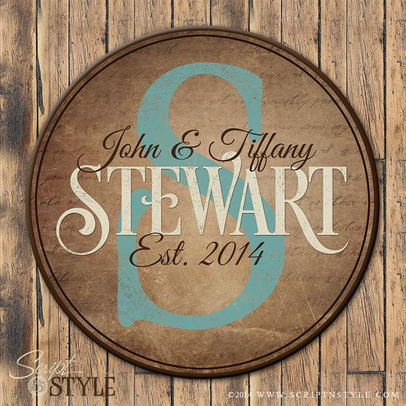 Personalized Family Established Sign Round by ScriptandStyle