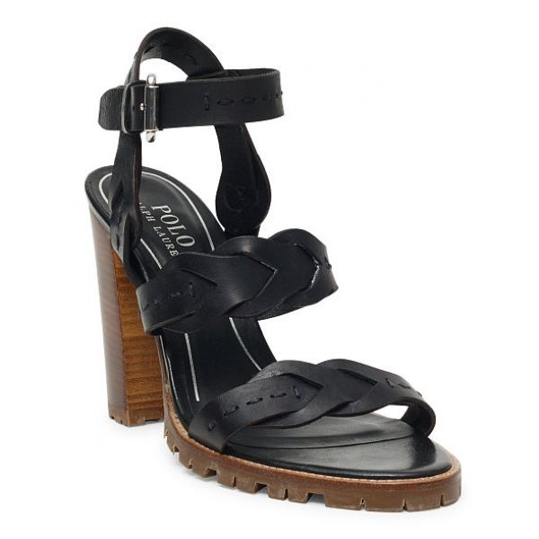 Ralph Lauren Elegant Braided Calfskin Sandal