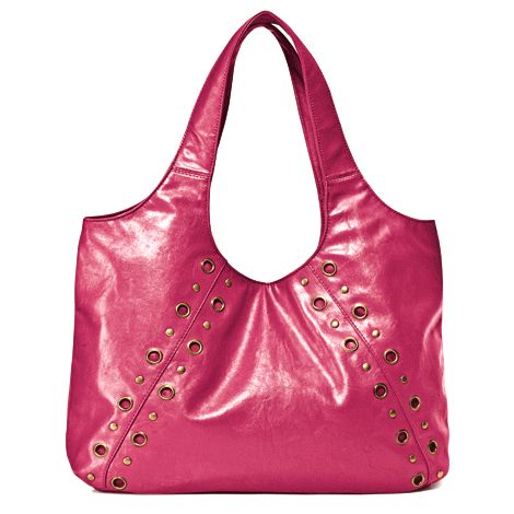 Your every day bag slips from work day to party night with ease. Leather-like with grommets and mixed studs. Double shoulder strap with magnetic snap closure.