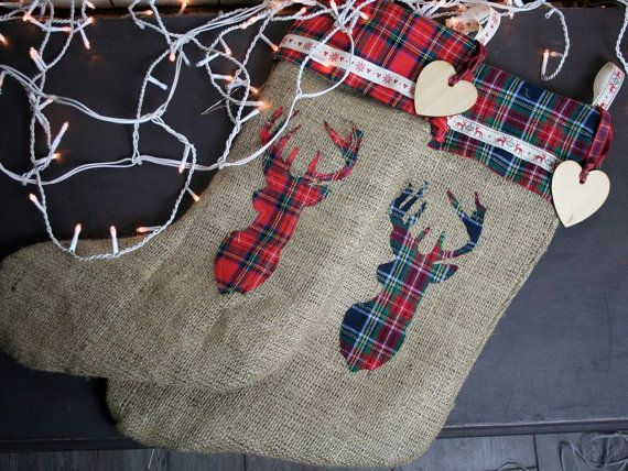Hessian Christmas Stocking with Stag Handmade by EllieMagpie