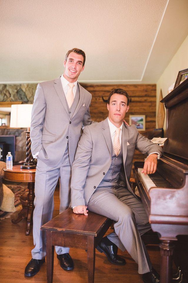 #wedding #groom #graysuit #bestman #peachtie #peach #photography #KevinTrowbridge
