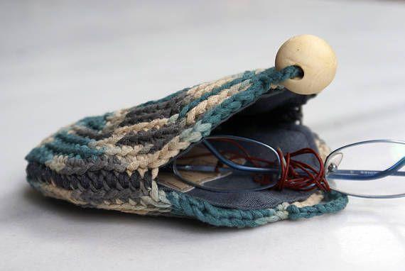 Crochet Round Coin Purse Handmade Crochet Wallet Blue Grey