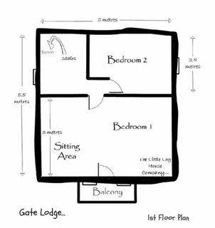 Plan etaj casa mica din lemn cu 2 dormitoare