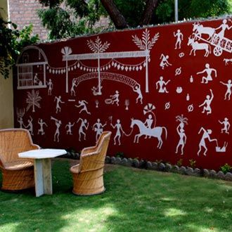 Something I adore - Warli! How I'd love to have one done in my garden :-)