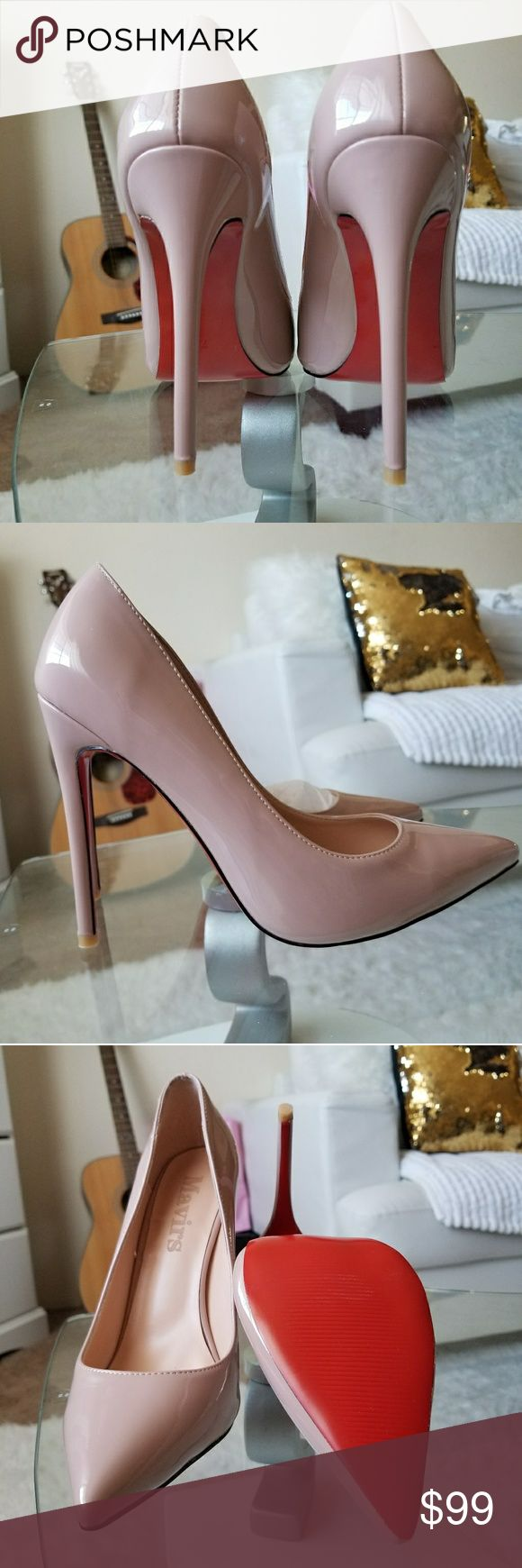 Nude stiletto heels pointy toe with red bottom Amazingly stylish nude heels pointy toe with red bottom it would go with any outfit because of the color is neutral. Mavirs Shoes Heels
