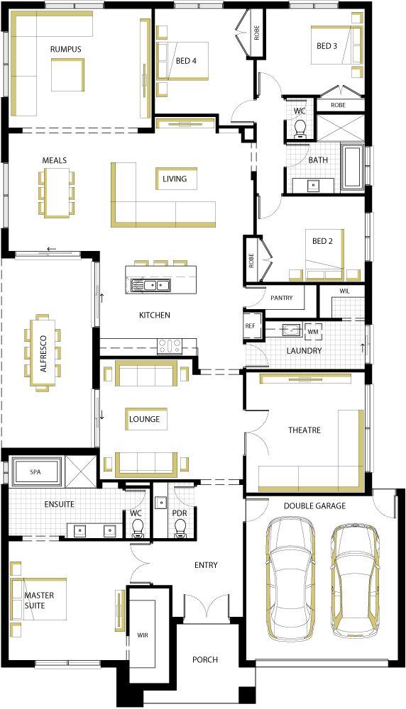 Central alfresco floorplan 36- 4 bedroom floor plan.