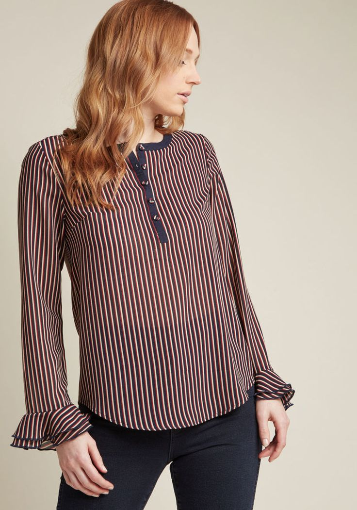 Chiffon Blouse with Trumpet Sleeves in XXS - Long Regular Waist by ModCloth