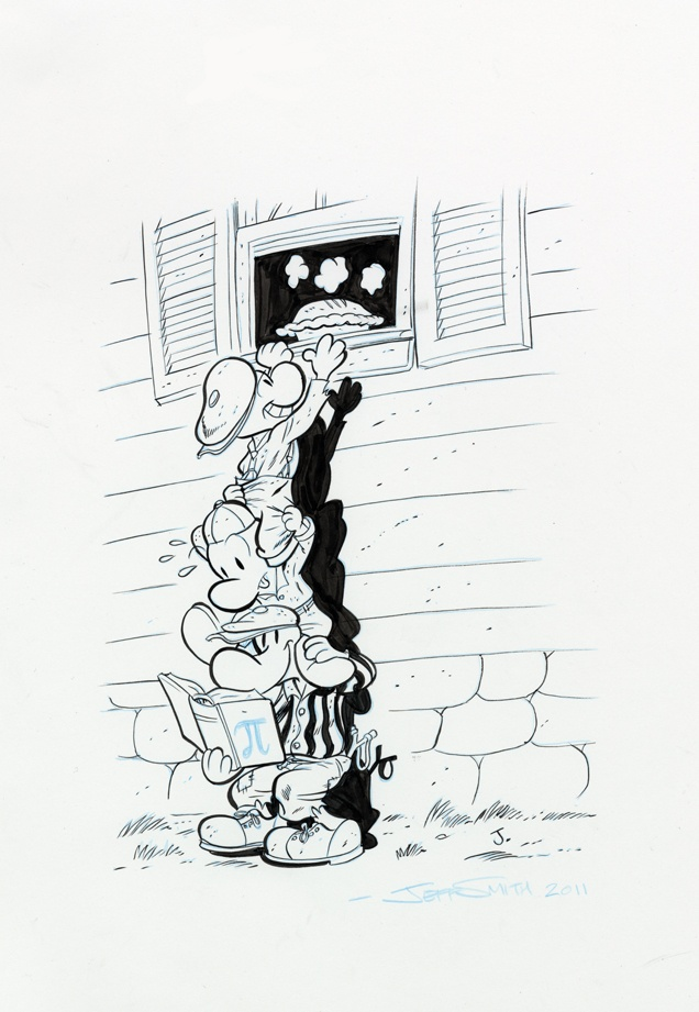 A younger Fone Bone with his cousins stealing a pie    — from the Bone Wiki  http://boneville.wikia.com/wiki/Fone_Bone#