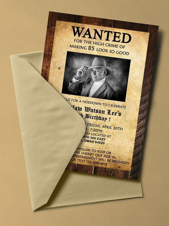 Vintage Rustic Cowboy Theme Wanted 85th Birthday Etsy Birthday Invitations Unique Invitations 85th Birthday