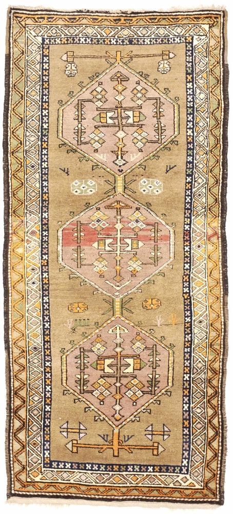 "NLR 303- Antique Caucasian Runner rug. 3'10""x 8'10"" #Handmade #Geometric"