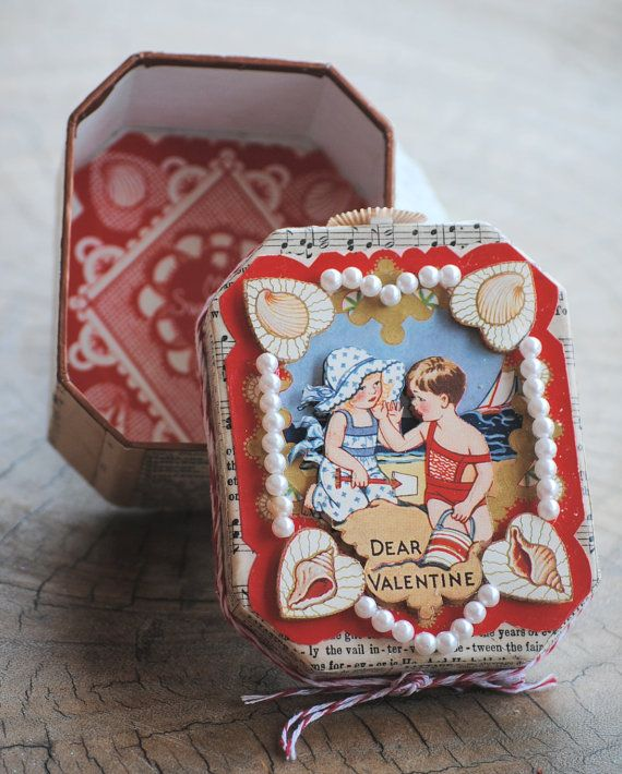 Vintage Nautical love card gift box Sea shells ship