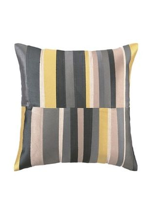Trina Turk Watercolor Stripe Embroidered Pillow (Grey)