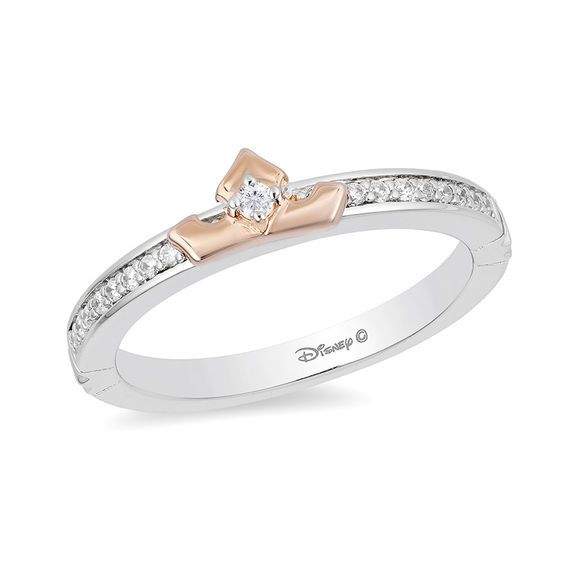 623e0f24a Diamond Crown Ring: Enchanted Disney Aurora 1/10 CT. T.w. Diamond Crown Ring  in Sterling Silver and 10K Rose Gold – Size 7