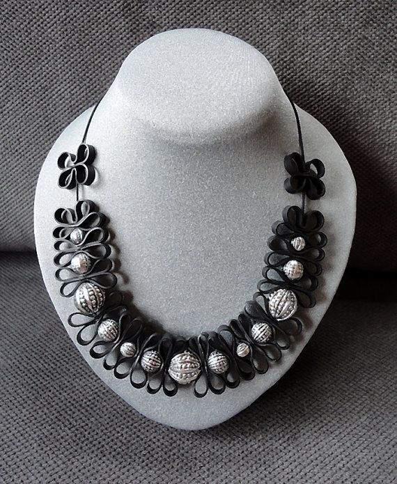 Black necklace with beautiful beads by AnnesSierraad on Etsy, €19.95