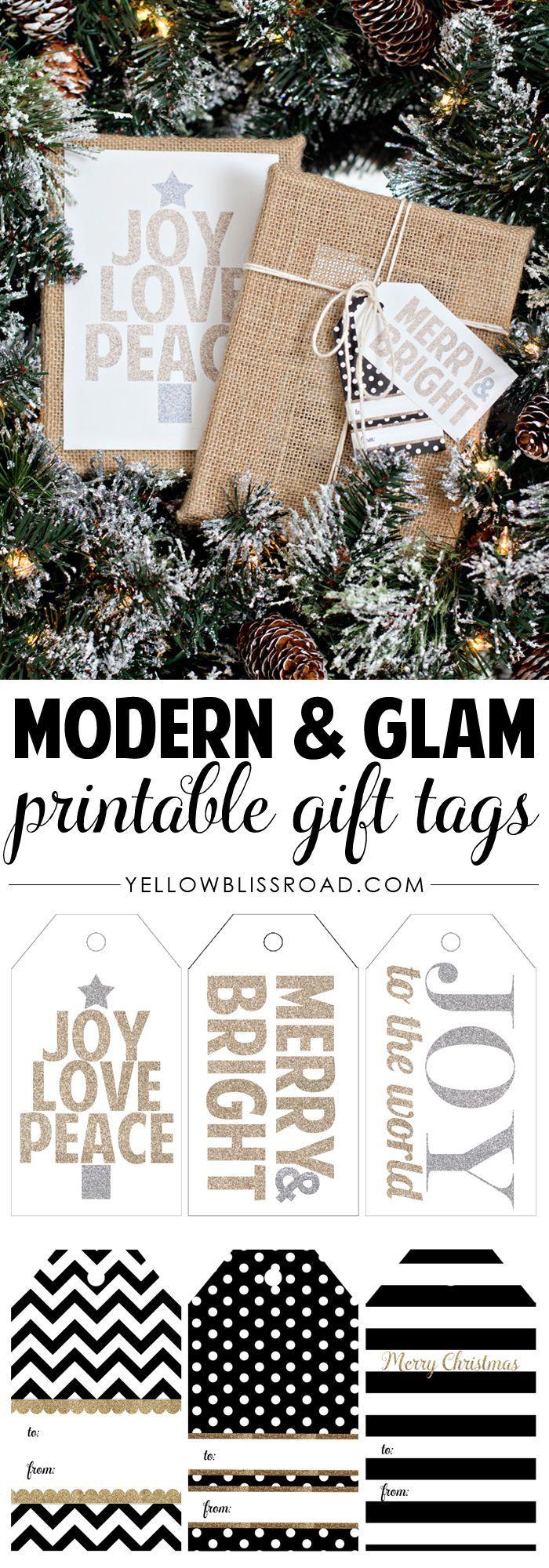Modern & Glam Free Printable Christmas GiftTags   DIY Christmas