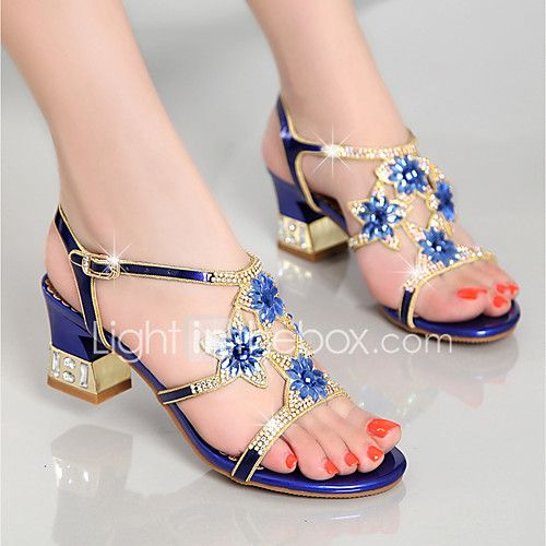 Women's Sandals Club Shoes Nappa Leather Summer Casual Dress Party & Evening Club Shoes Rhinestone Chunky Heel Gold Purple Blue2in-2 2017 - $39.99