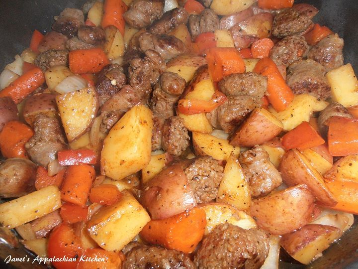"Brats & Taters  1 lb. bratwurst, sliced into bite size pieces ** 1 T. vegetable or olive oil 2-3 carrots, peeled and cut into 1"" pieces 4 med. potatoes, washed and cubed 1 red bell pepper, chopped 1 med. onion, chopped 1/2 tsp. paprika 1/4 tsp. salt 1/4 tsp. pepper  ** You can make this recipe gluten free by substituting these ingredients. Sausages are usually gluten free, but check the ingredients just to make sure.  In a skillet heat the oil over med. high heat.  Add the brats to the pan…"