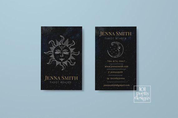Tarot Reader Business Card Printable Business Cards Design Magic Business Card Spiritual Esoteric Mystic Life Coach Yoga Teacher Moon Sun Business Card Design Printable Business Cards Card Design
